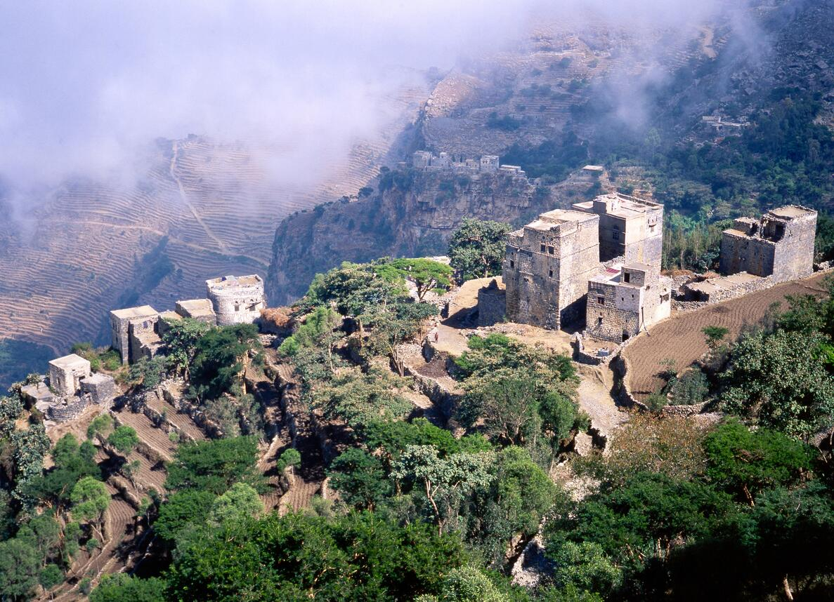 A small village in the mountains of Yemen