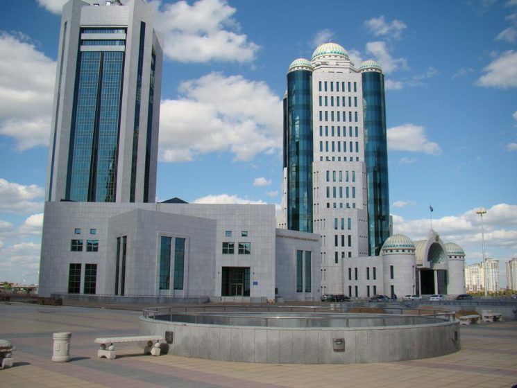 The Kazakh parliament building in the capital Astana.