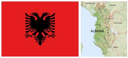 Albania Flag and Map