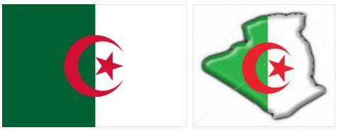 Algeria Flag and Map