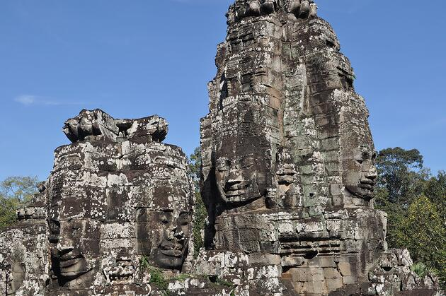 The five gates into the city are all adorned with four giant faces carved in stone