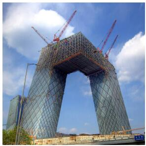 Construction work on the building of the Chinese State Television